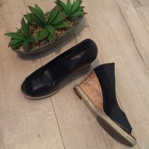 Cole Haan Black Leather peep toe wedges shoes